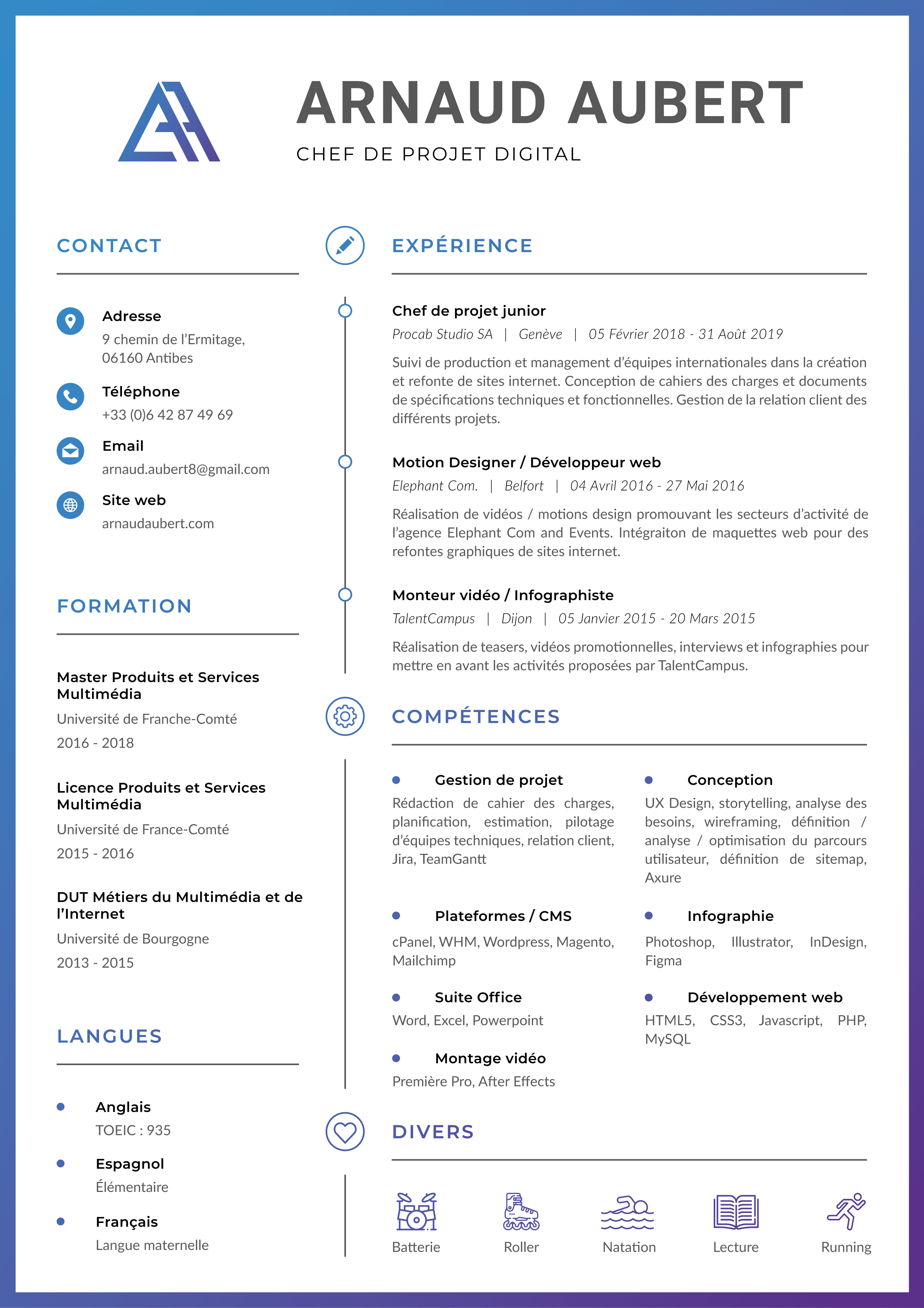 CV arnaud aubert 2020